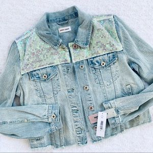 Sunset + Spring Denim Jacket Sequins M raw…